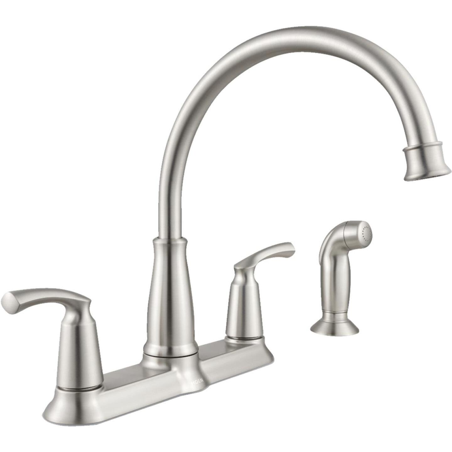 Moen Bexley Dual Handle Lever Kitchen Faucet with Side Spray ...