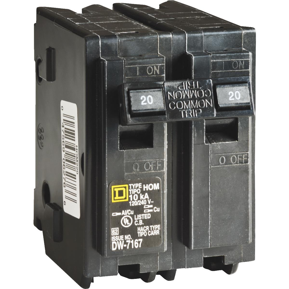 Case of 10 HomeLine Square D HOM120 Circuit Breakers 1 Pole,